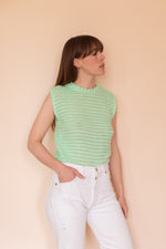 Anita is Vintage 60s Green Ruffle Knitted Vest Top