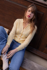 Anita is Vintage 60s Pastel Yellow Pointelle Cardigan