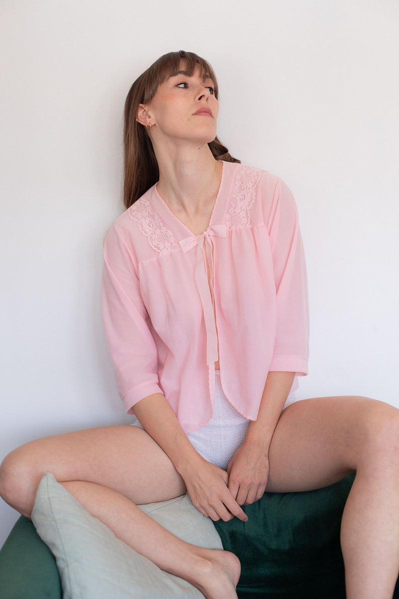 Anita is Vintage 60s Pink Bed Jacket