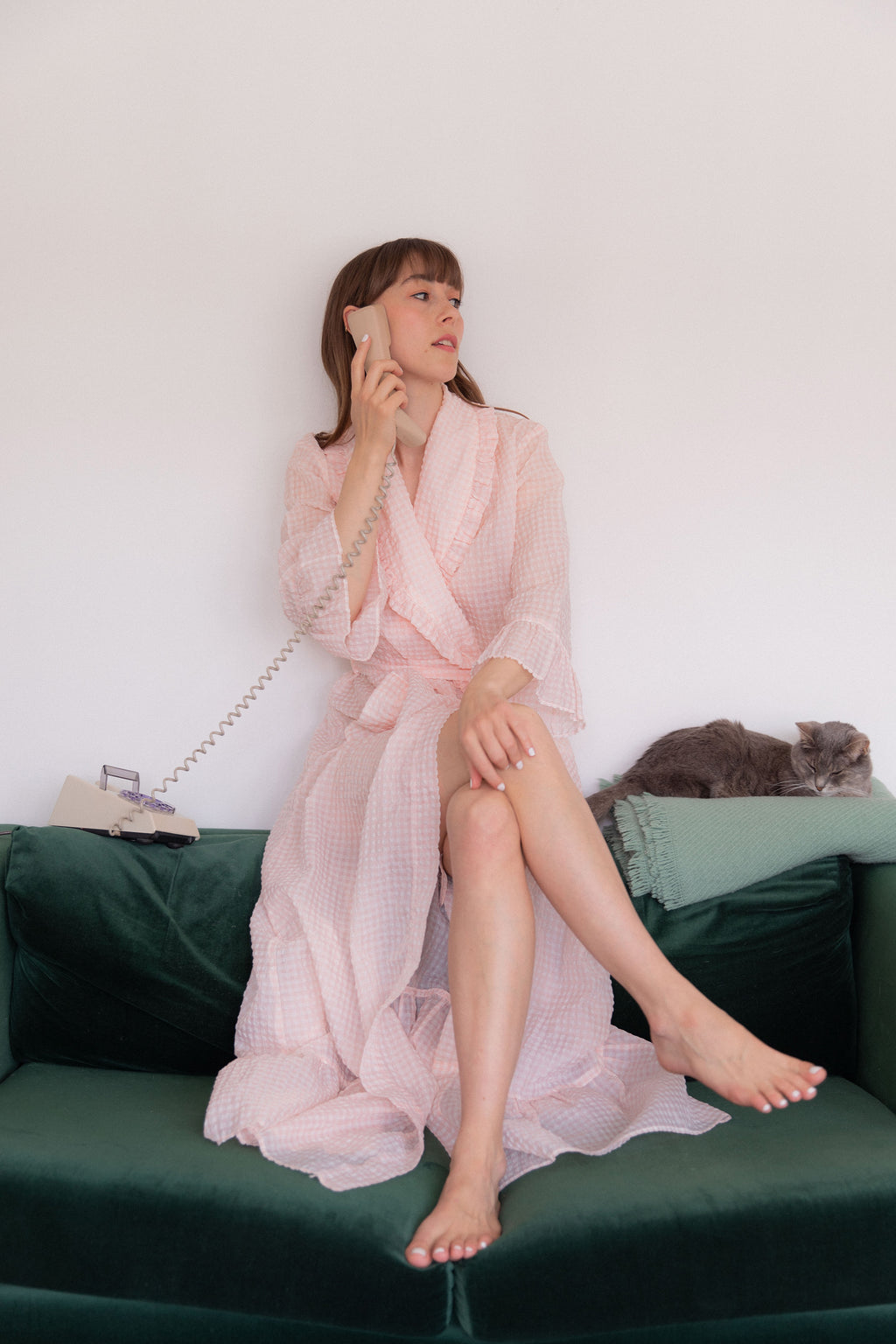 Anita is Vintage 60s Pink Gingham Dressing Gown