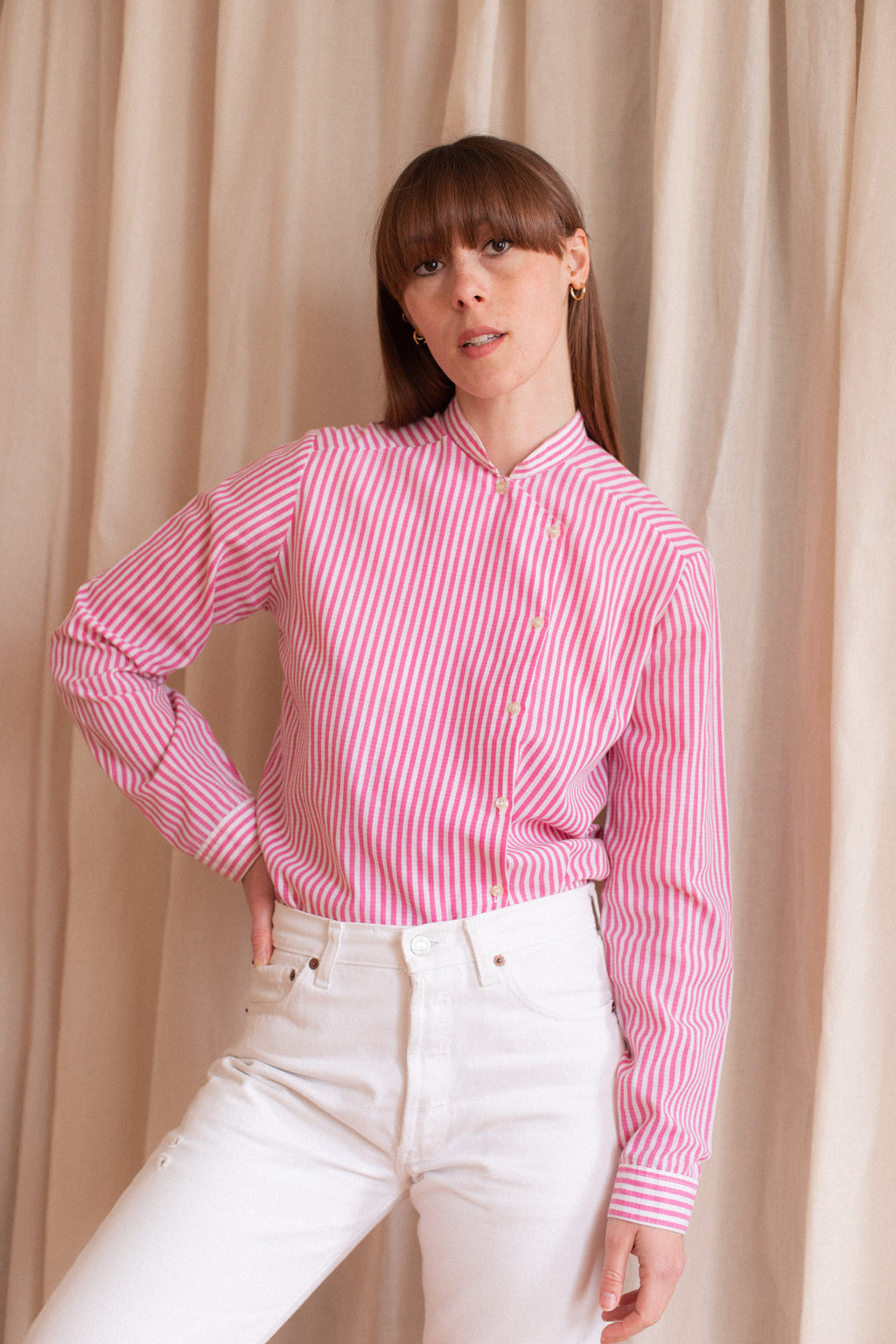 Anita is Vintage 60s Pink & White Stripe Blouse