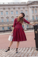 Anita is Vintage 60s Red & Green Tartan Midi Dress