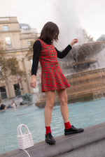 Anita is Vintage 60s Red & Green Tartan Mini Dress