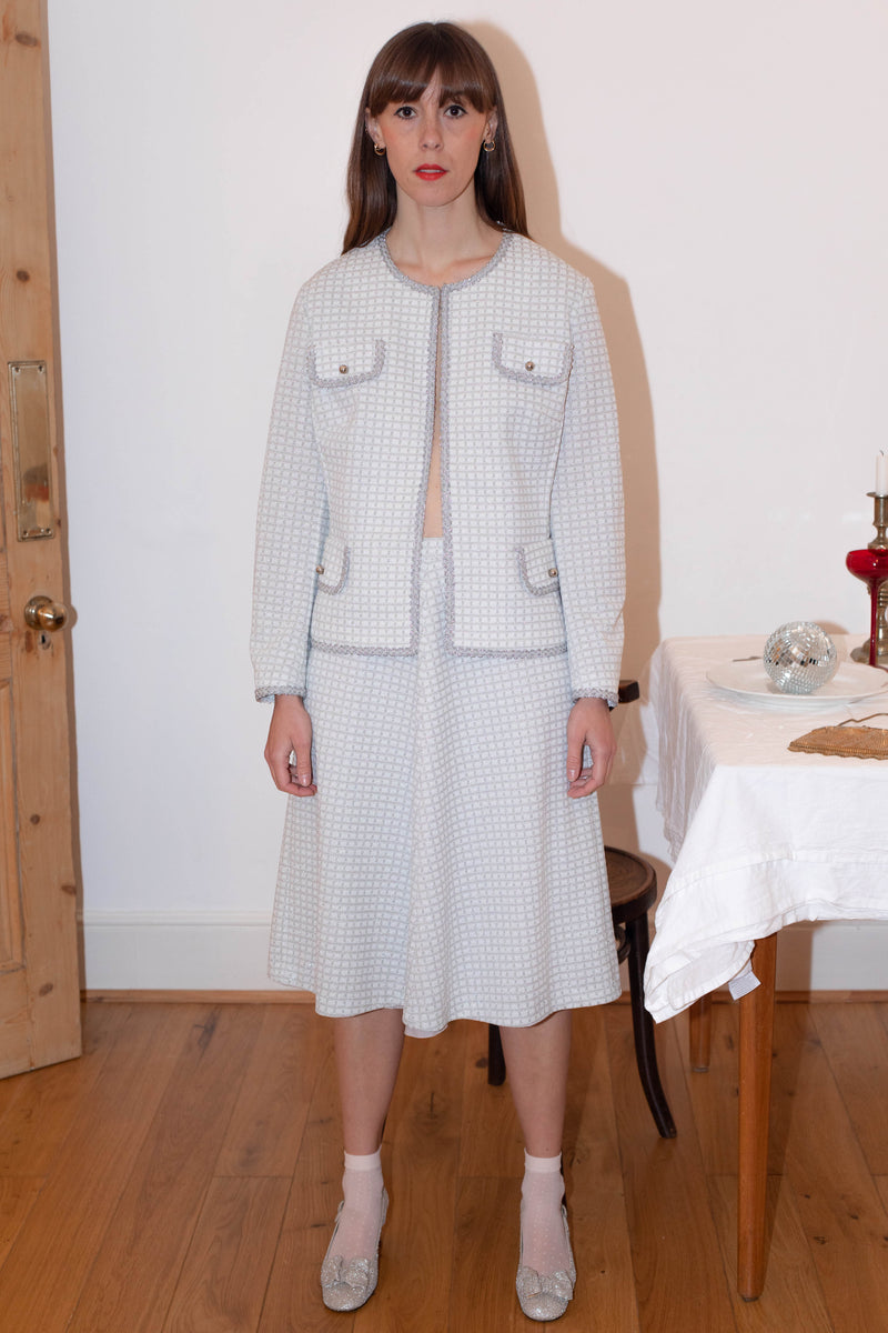 Anita is Vintage 60s Silver Lurex Check Two Piece