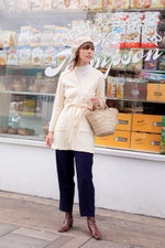 Anita is Vintage 60s St Michael Cream Wrap Cardigan