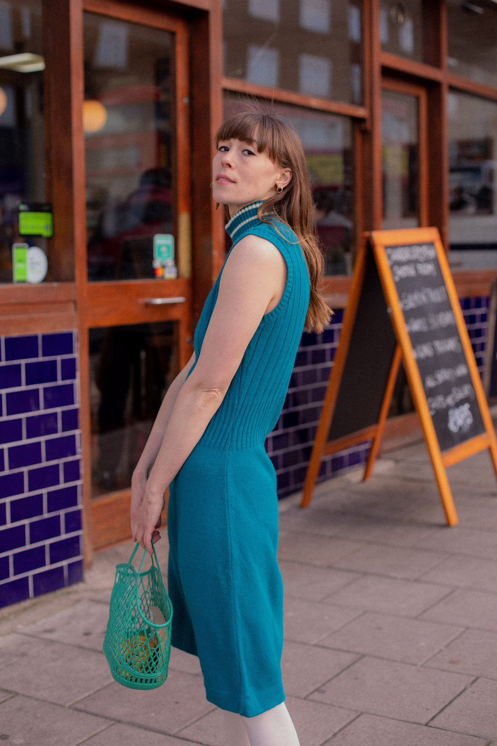 Anita is Vintage 60s Turquoise Teal Knitted Mini Dress