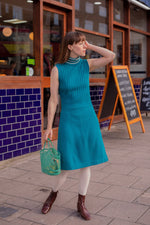 Anita is Vintage 60s Turquoise Knitted Mini Dress
