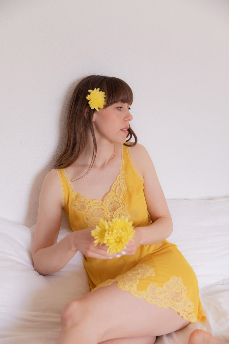 Anita is Vintage 60s Yellow Slip Dress with Lace