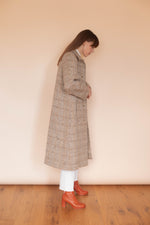 Anita is Vintage 70s Aquascutum Brown & Cream Wool Coat