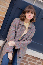 Anita is Vintage 70s Aquascutum Grey Check Reversible Trench Coat
