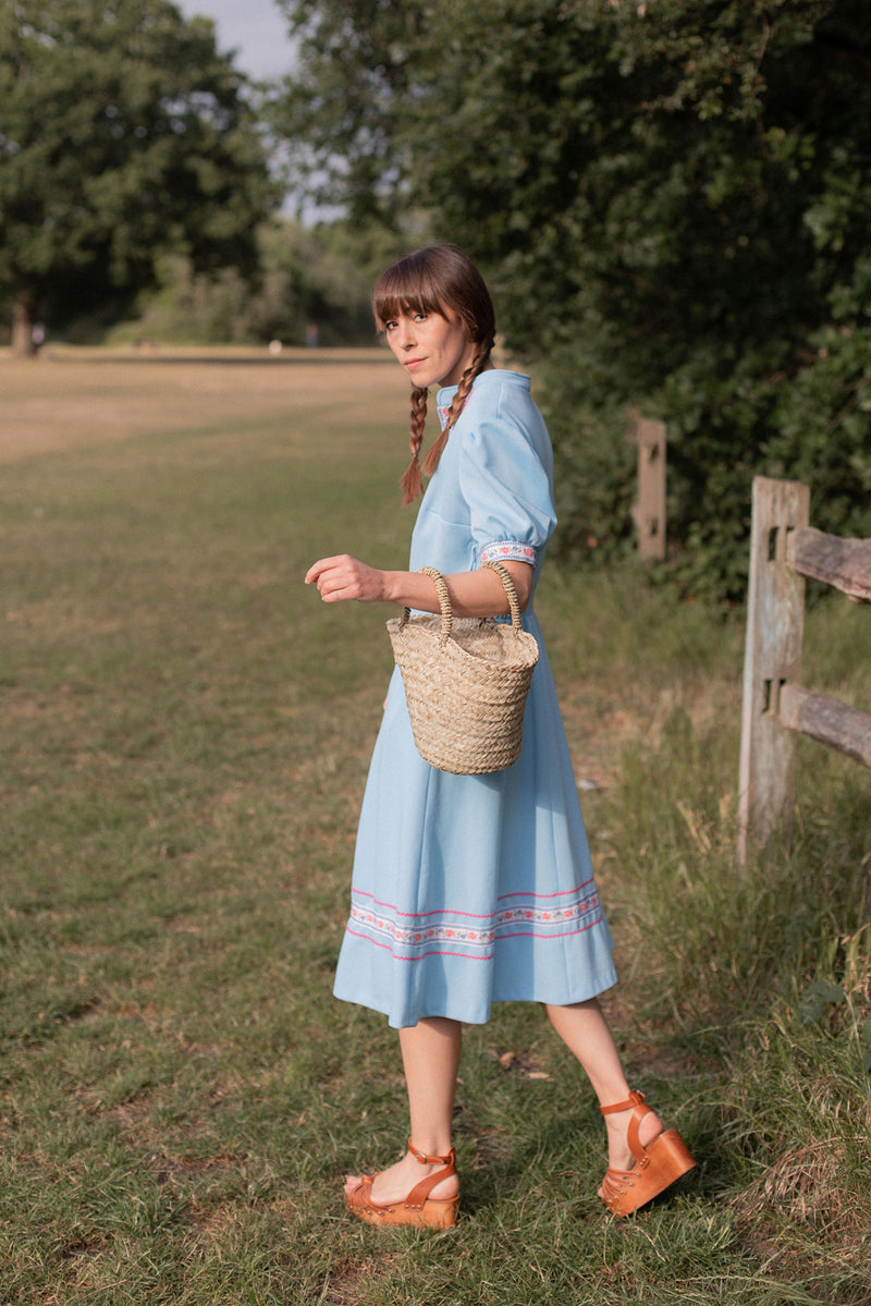 Anita is Vintage 70s Baby Blue Embroidered Midi Dress