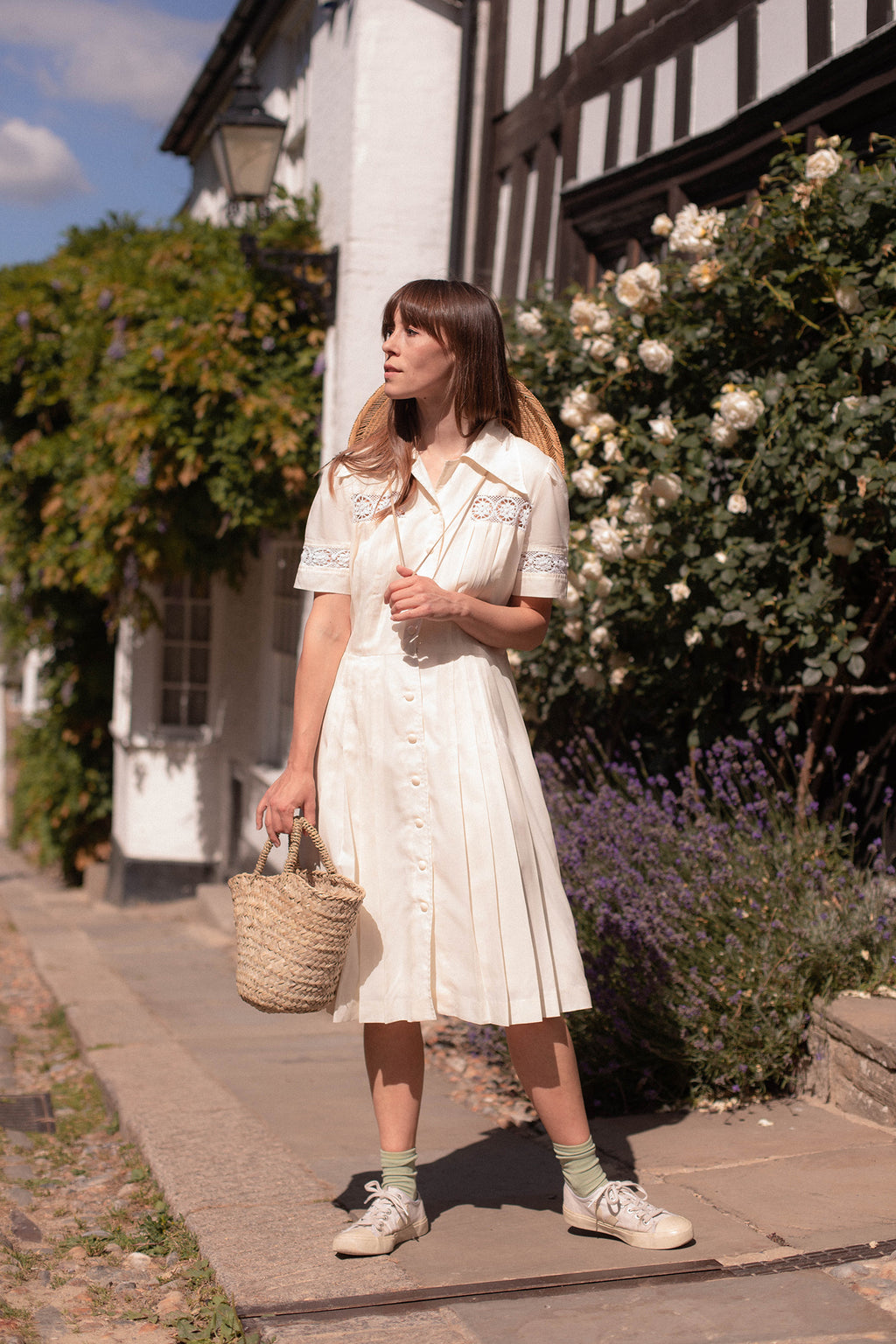Anita is Vintage 70s Berkertex Cream Silk Midi Dress