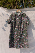 Anita is Vintage 70s Black Floral Shirt Dress