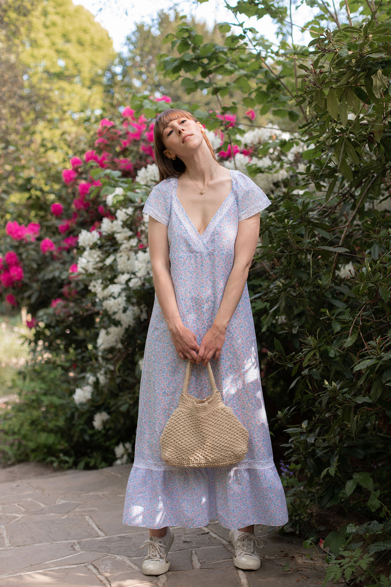 Anita is Vintage 70s Blue Ditsy Floral Maxi Dress