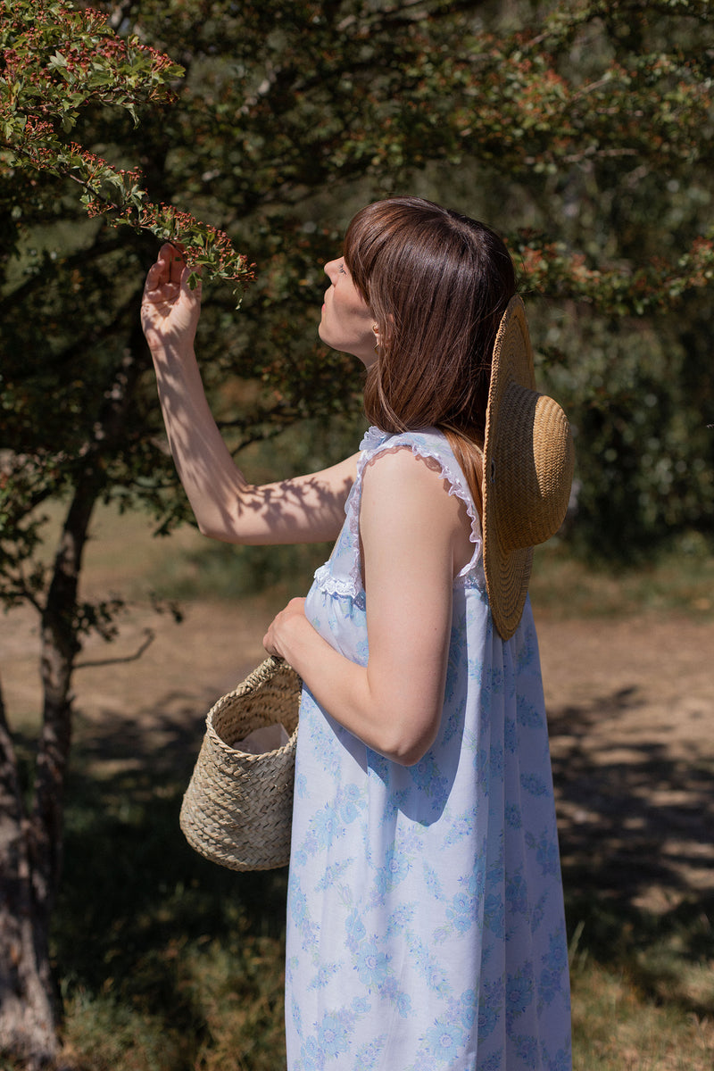 Anita is Vintage 70s Blue Floral Maxi Dress