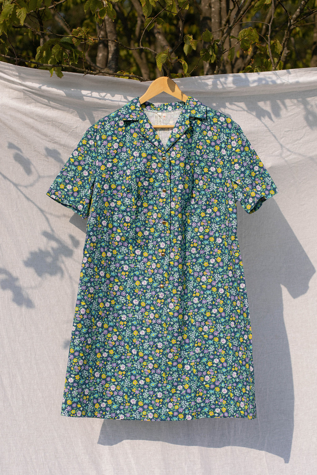Anita is Vintage 70s Blue Floral Shirt Dress