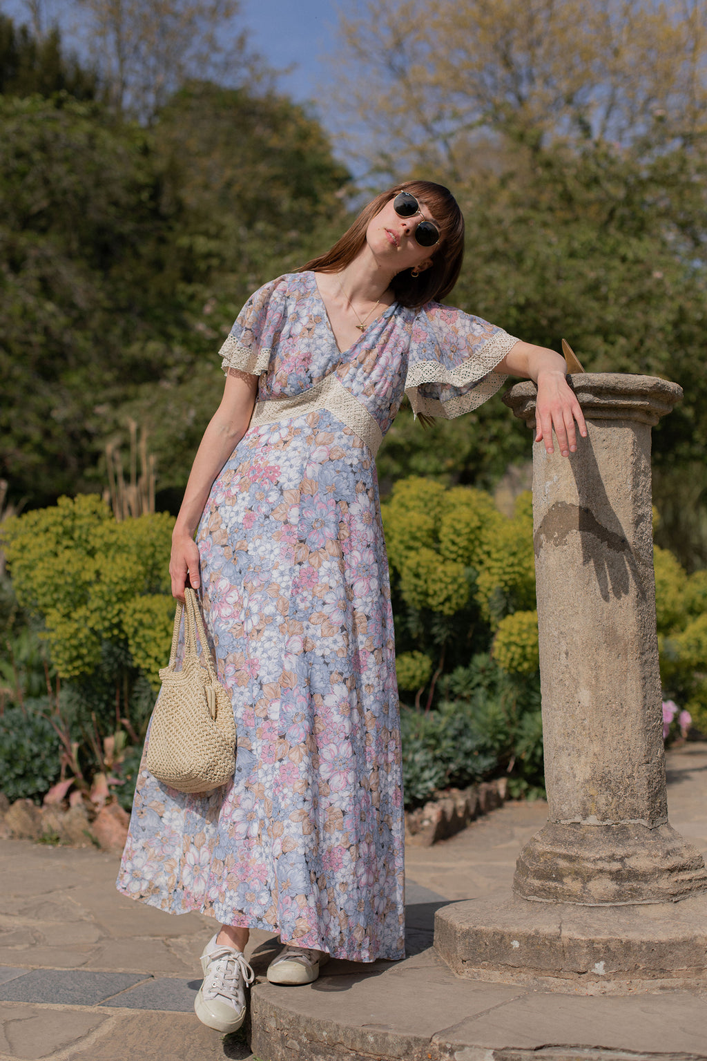 Anita is Vintage 70s Blue & Pink Floral Maxi Dress