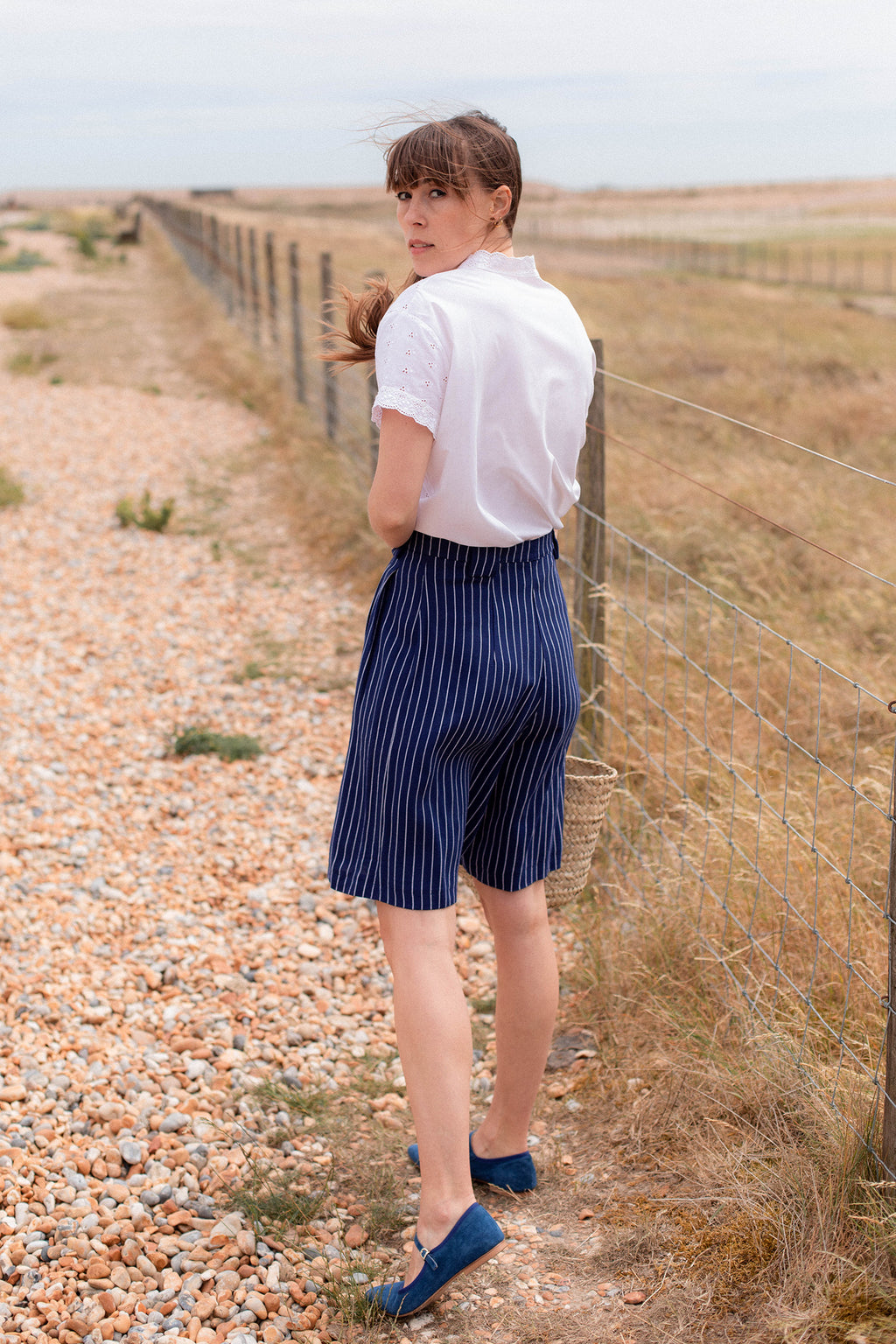 Anita is Vintage 70s Blue & White Stripe Short