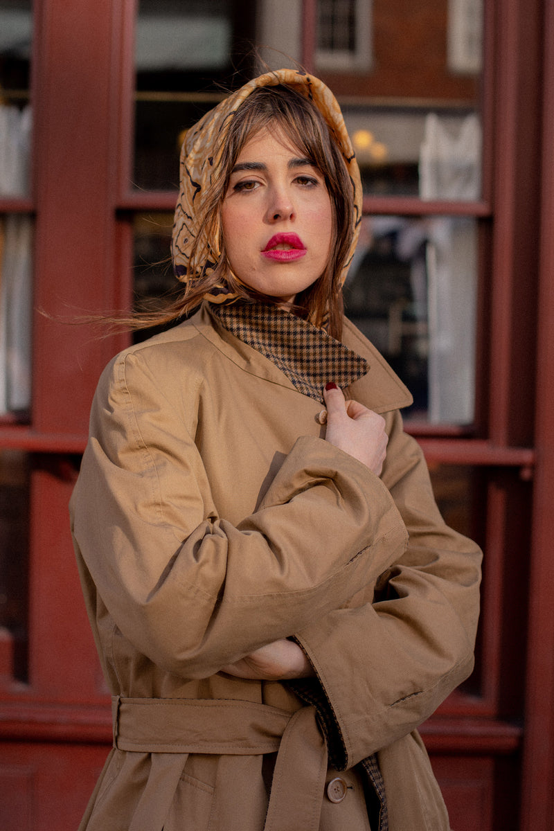 Anita is Vintage 70s Camel Brown Reversible Trench Coat