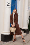 Anita is Vintage 70s Brown Suede Trench Coat