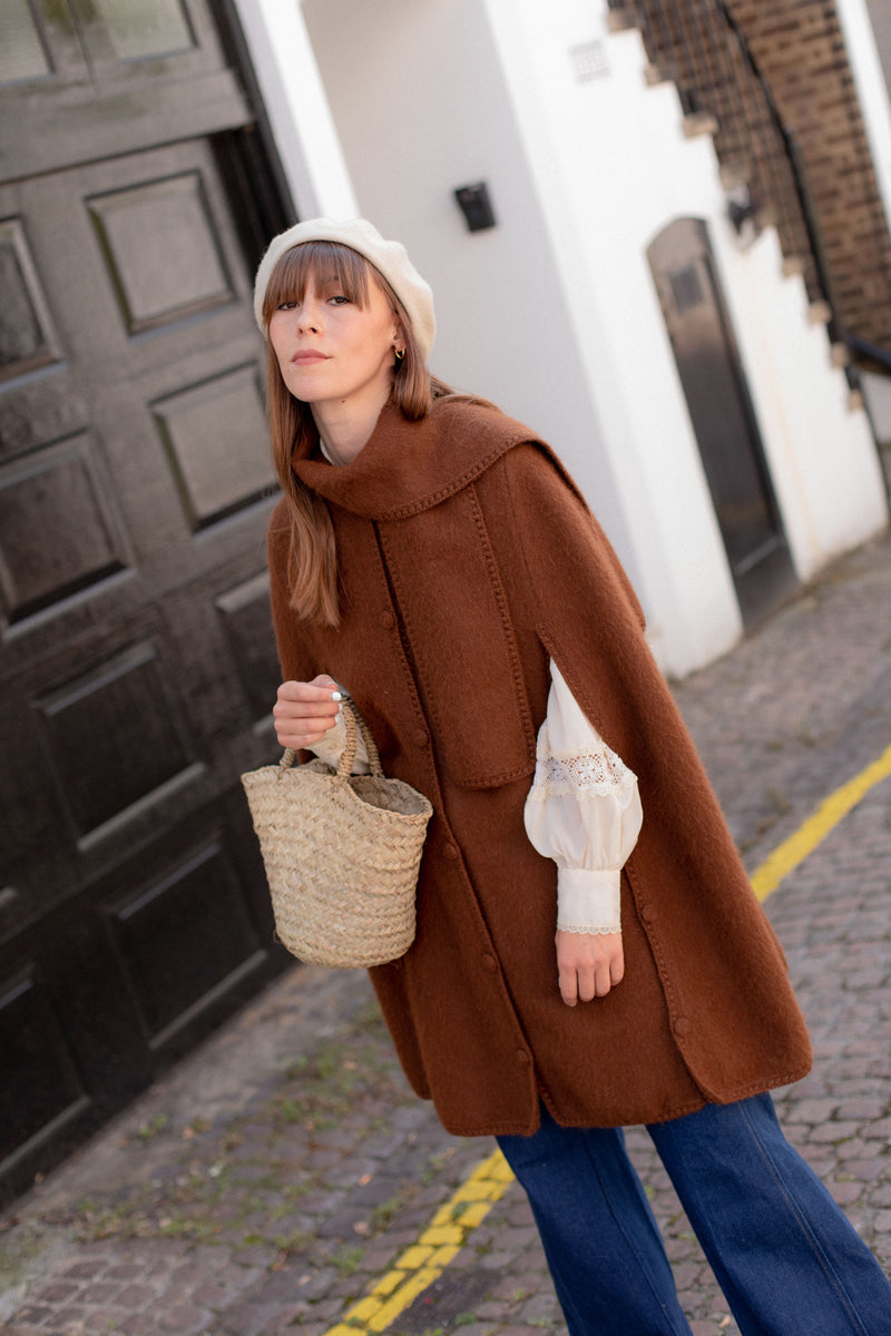 Anita is Vintage 70s Brown Wool Cape