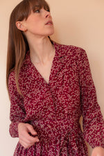Anita is Vintage 70s Cacharel Burgundy Floral Silk Midi Dress