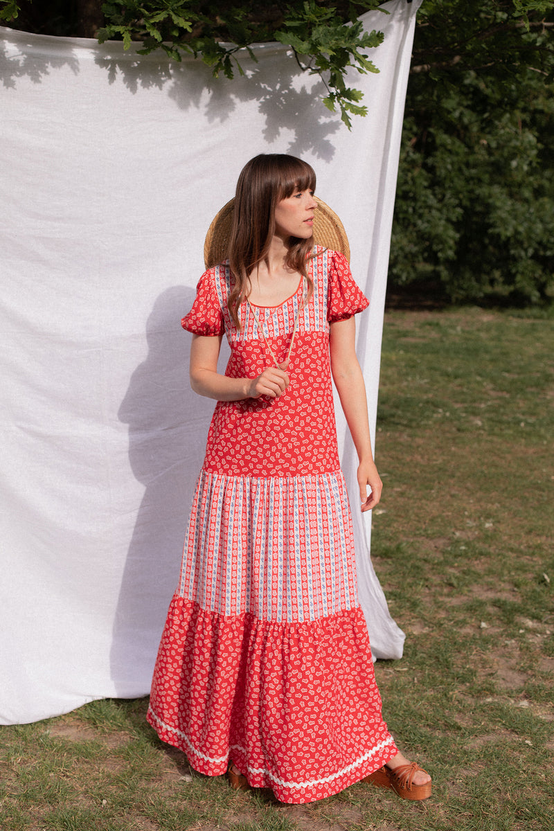 Anita is Vintage 70s Countdown Red Floral Maxi Dress