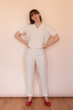 Anita is Vintage 70s Cream Knitted Short Sleeve Top