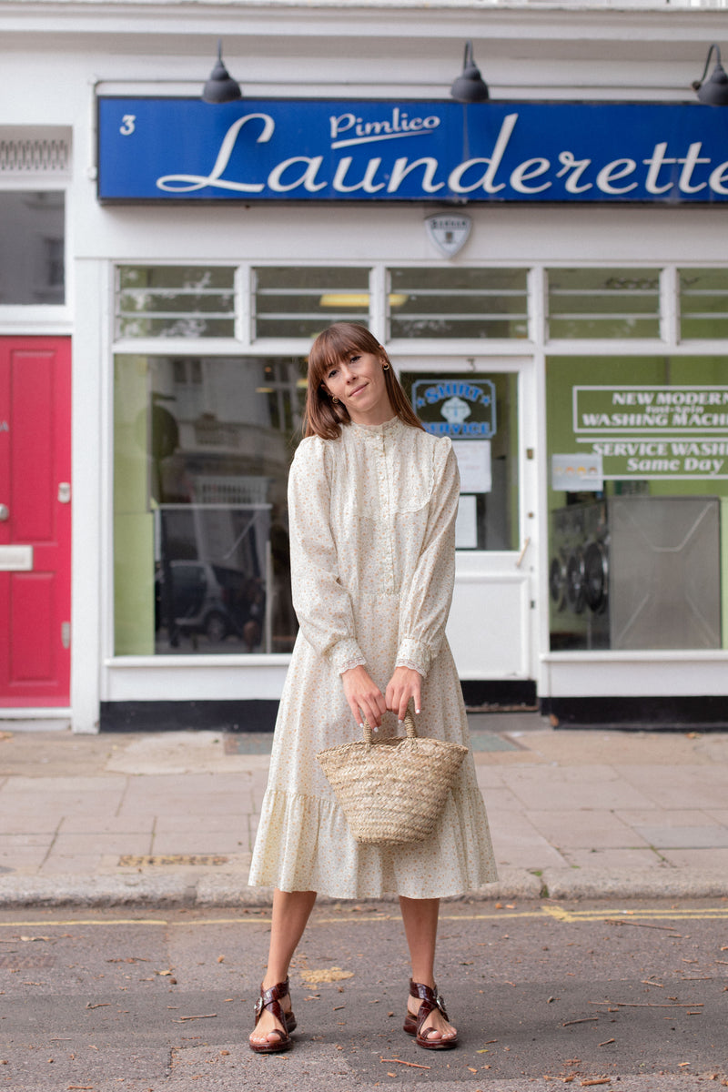 Anita is Vintage 70s Cream & Brown Floral Midi Dress