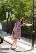 Anita is Vintage 70s Blue Green & Red Check Midi Dress