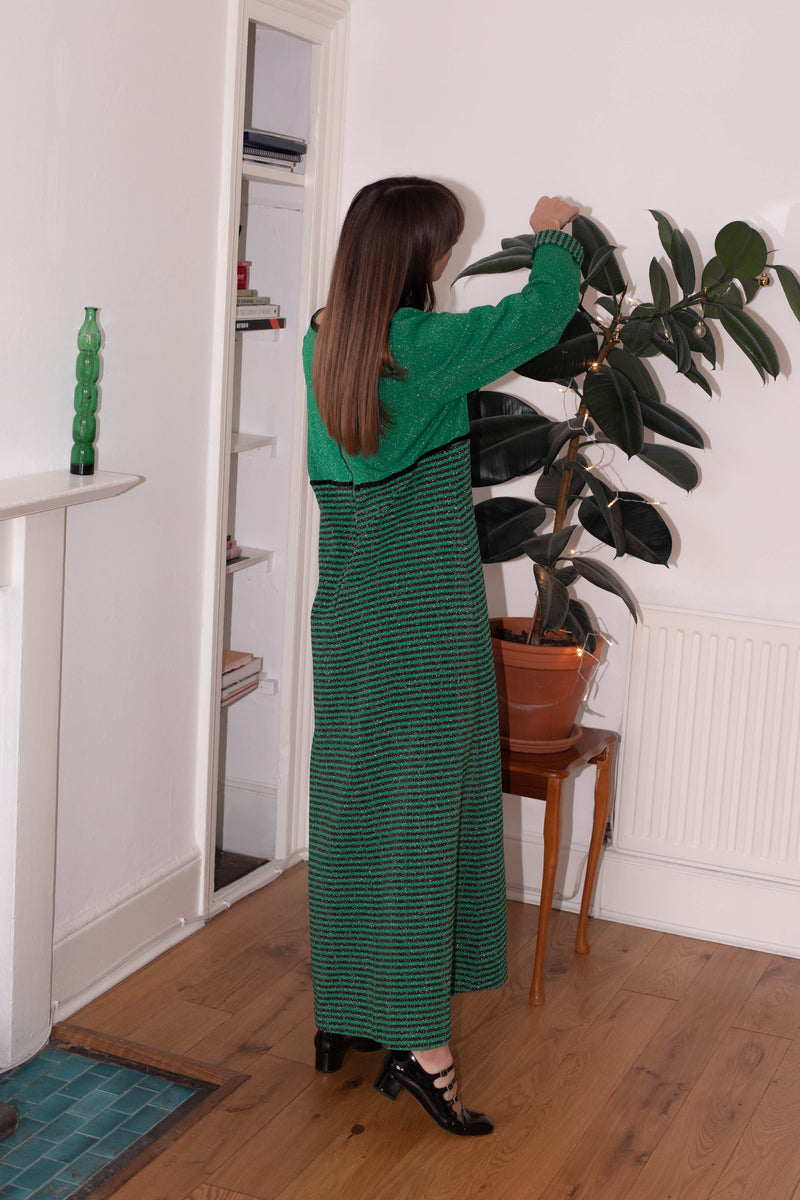 Anita is Vintage 70s Green & Black Stripe Lurex Maxi Dress