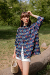 Anita is Vintage 70s Guy Laroche Navy Floral Blouse