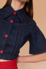 Anita is Vintage 70s Indigo Denim Cropped Shirt