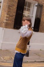 Anita is Vintage 70s Mustard Patterned Knitted Vest
