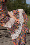Anita is Vintage 70s Navy Floral Maxi Dress