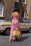 Anita is Vintage 70s Red Pink Yellow Purple Check Maxi Dress