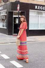 Anita is Vintage 70s Red Blue & Green Floral Maxi Dress