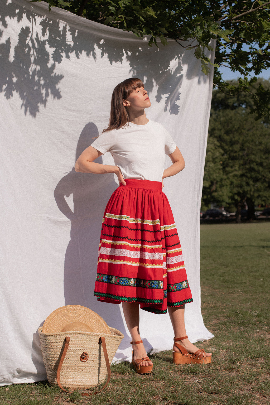 Anita is Vintage 70s Red Embroidered Prairie Skirt