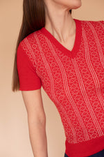 Anita is Vintage 70s Red & White Print Towelling Top