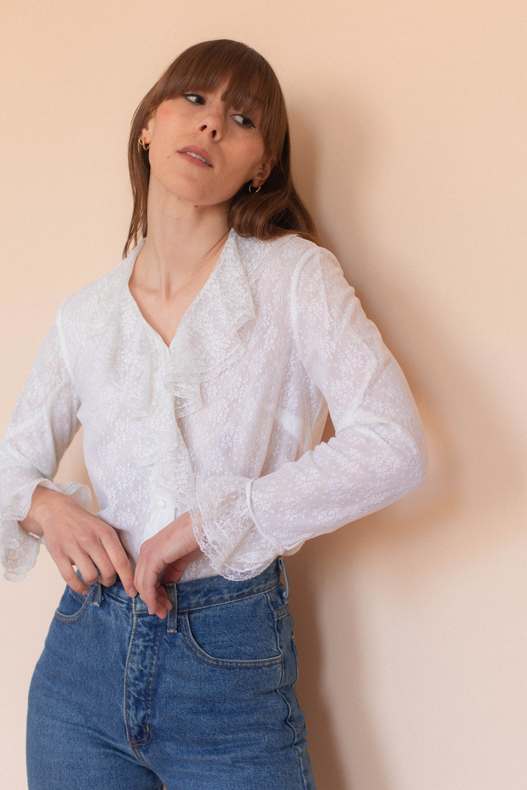 Anita is Vintage 70s White Lace Ruffle Blouse