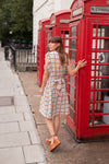 Anita is Vintage White Orange & Green Check Midi Dress