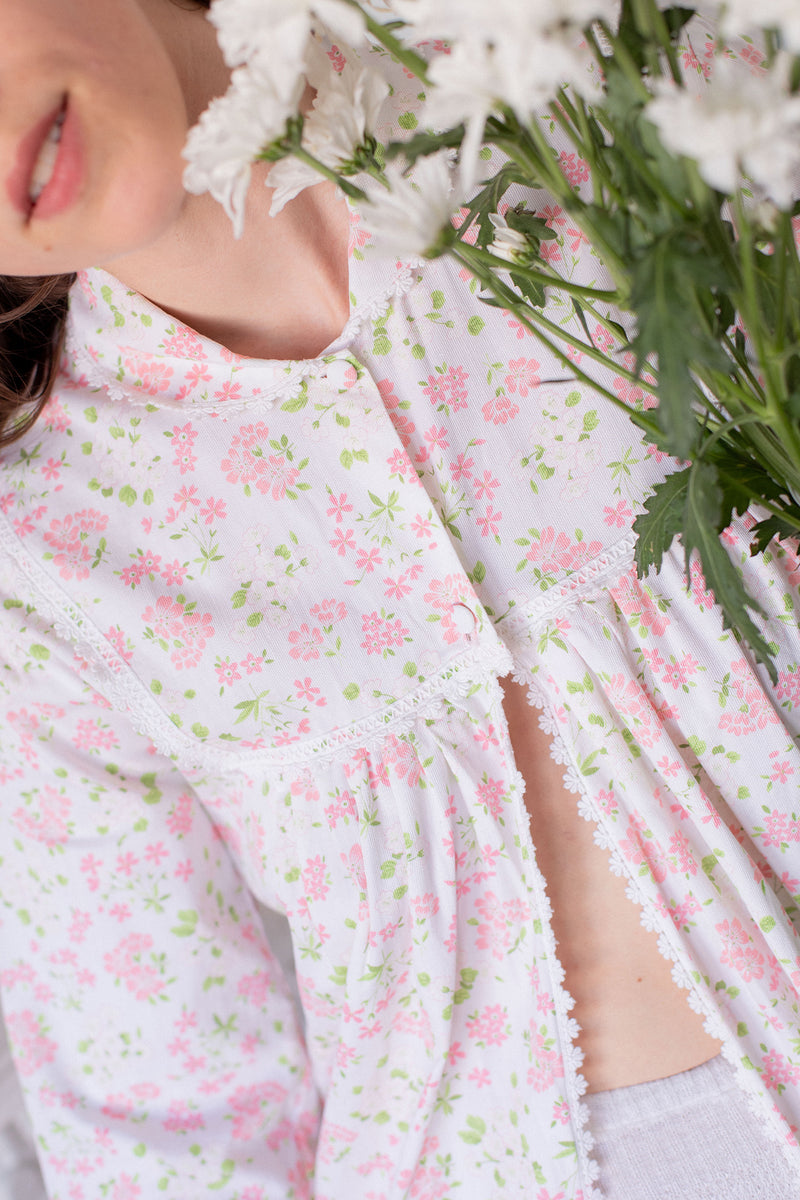 Anita is Vintage 60s White & Pink Floral Cover Up