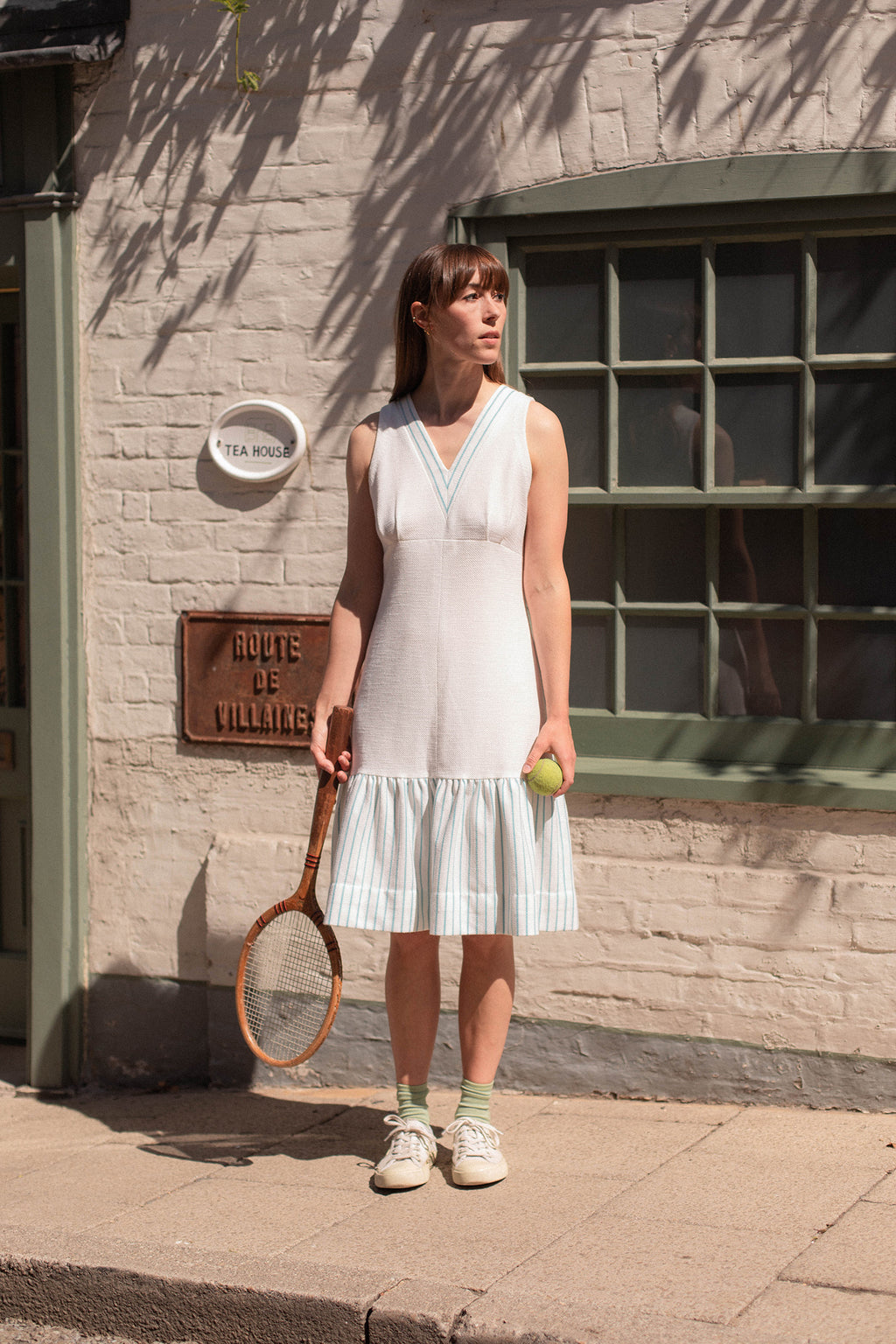 Anita is Vintage 70s White & Turquoise Stripe Midi Dress
