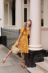 Anita is Vintage 70s Yellow & Orange Floral Midi Dress
