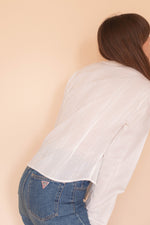Anita is Vintage 90s White Stripe & Lace Blouse