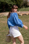Anita is Vintage 80s Blue Balloon Sleeve Blouse
