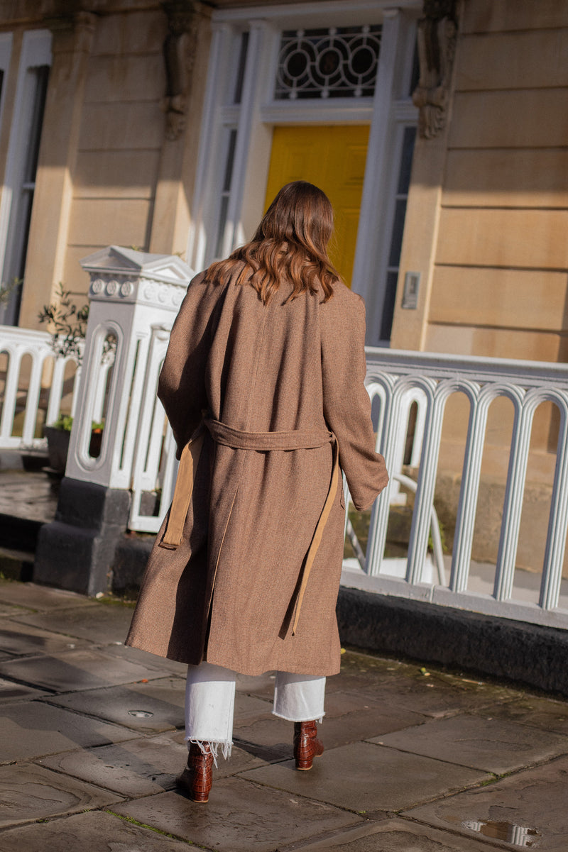 Anita is Vintage 80s Brown Check Reversible Trench Coat Back