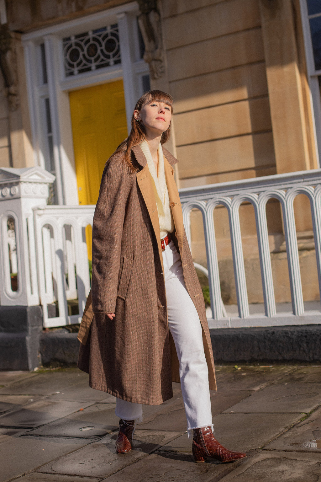 Anita is Vintage 80s Brown Check Reversible Trench Coat