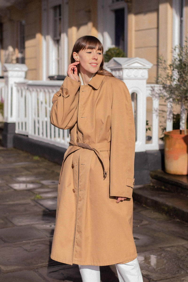 Anita is Vintage 80s Camel Brown Reversible Trench Coat