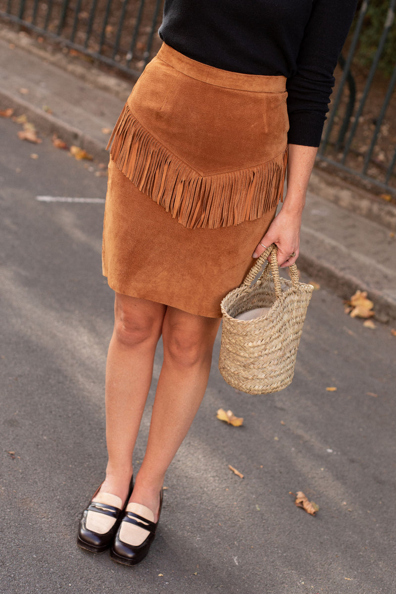Anita is Vintage 80s Brown Fringe Mini Skirt